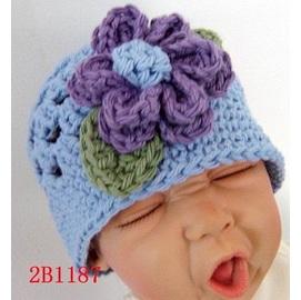 ~日單~藍紫色底vs一朵紫色大花朵毛線帽^(S M L^)