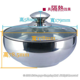 CI~180H 華納保鮮隔熱碗18cm^~不鏽鋼雙層隔熱碗.泡麵碗^~ 製^~