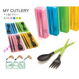日式時尚 三件式環保餐具組合(附收納盒)◇/攜帶式 組合式 三合一 環保 筷子 叉子 湯匙 餐具組