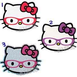 幻特奇~日本進口歐美限定kitty臉形眼鏡造型大貼紙092711