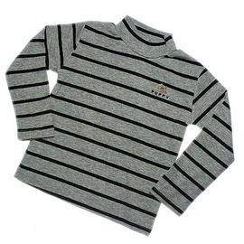 禦寒保暖 純棉中高領上衣 T恤^(灰色 黑色條紋^)^~凱兒寶貝 部^~ ^(兒童 大人限
