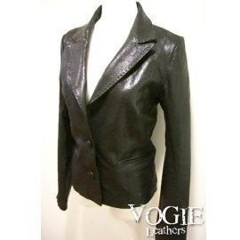 ~ VOGIE ~~S06~2~超顯瘦百搭款小羊皮壓線西裝式皮衣外套