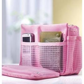 甜美幸福袋中袋/聰明收納袋收納包包◇/超容量粉色方形整理收納包/袋中袋/整理袋/多功能收納包