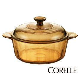 【康寧】《CORELLE》2.25L◆晶彩透明◆雙耳◆淺鍋《VS-22》適用黑晶爐、多種加熱工具
