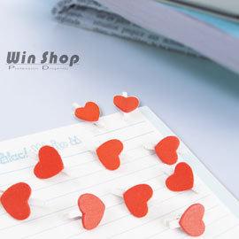 【WinShop】☆100入含運價☆韓國熱賣暢銷款!迷你可愛白底紅色愛心小夾子/小木夾,拍立得/名片夾/書籤/卡片夾