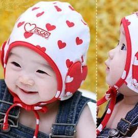 韓國心心包頭嬰兒保暖帽^(C1007^)
