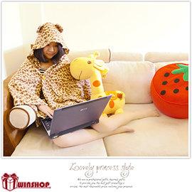 【Q禮品】B0674 夢遊娃娃懶人毯/保暖披肩點點/豹紋/熊熊/保暖/愛心披風袖毯斗篷午睡毯毛毯