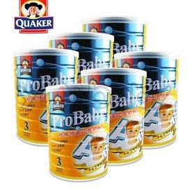 桂格 QUAKER 特選成長奶粉-新一代藻精蛋白配方1.5kg/罐x6入-送玩具總動員拉桿書包