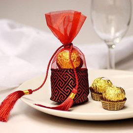 【花現幸福】中國紅錦喜糖袋6元  婚禮小物  紗袋  喜糖袋  送客禮