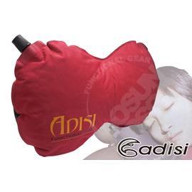 【台灣 ADISI】多用途自動充氣枕頭.頸靠枕.背部靠墊.收納體積小.舒適彈性布.止滑.適長途旅行車用.午睡.辦公室.露營.登山 PI-105R 紅