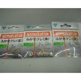 ◎百有釣具◎日本gamakatsu金色黑毛原廠鉤 買五送ㄧ