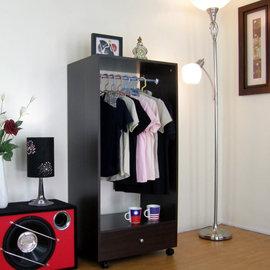 【愛家】40Dx60Wx125H/公分[單吊衣桿+大抽屜]吊衣櫃/吊衣櫥(深胡桃木色)C60D1-DW