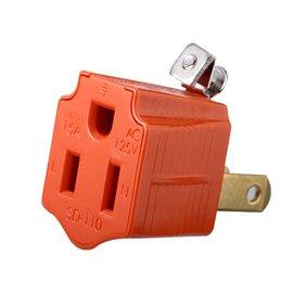 悠麗轉接插座★接地型三極插頭  專換二極型插頭使用★防火材質★安全設計