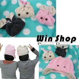 【winshop】超級卡哇伊,超夯雜誌明星款兔兔帽/兔子帽,摺疊好收納,帶起來更有型~