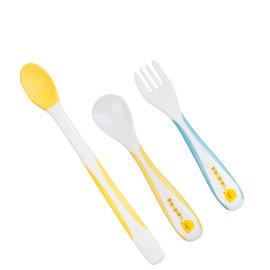 ^(63102^)黃色小鴨1 2階段嬰幼兒雙色湯叉組^(藍 粉^)