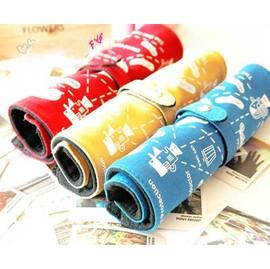 日韓夯 創意捲捲筆袋/化妝包~高質感帆布材質綁帶扣式