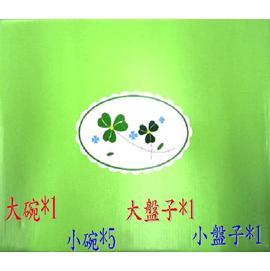 【贈品隨意賣】【幸運草碗盤組】陶瓷製◆大盤/小盤/大碗/小碗