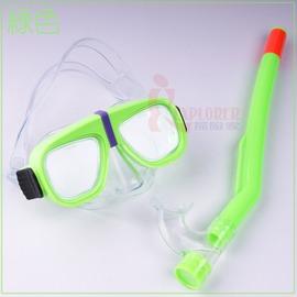 DJ7613兒童面鏡組(附PVC管)[綠色]潛水蛙鏡,浮潛蛙鏡(台灣製造)