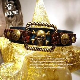 ATWILL^~^~機車猴子^~^~亨利五世搖滾版3~ 原生刷色英倫牛革皮手環~□■古銅寶