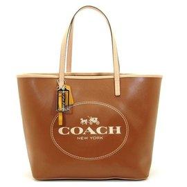 COACH 31315 焦糖咖啡色PVC側肩大包