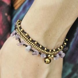泰國民族風 款~紫礦石金色銅鈴編織手鍊
