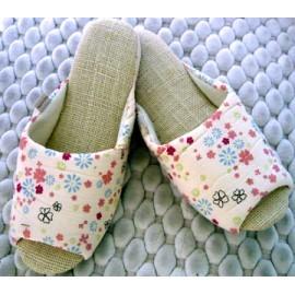 ^(e鞋院^)^~普羅旺斯~櫻花^~亞麻柔軟室內拖鞋^~數量有限^~