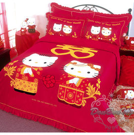 通販部-HELLO KITTY婚禮喜慶雙人床包被單枕頭套組318191