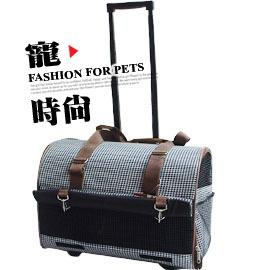 NEW~高鐵好幫手~寵物外出硬殼行李箱推車 ^(免 喔^) 千鳥格紋黑