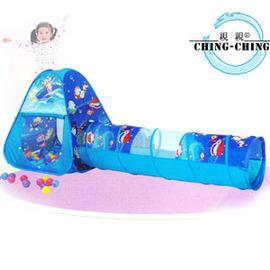 三角折疊帳篷+隧道+100球(台灣製造)P072-CBH03(兒童遊戲帳棚.折疊遊戲球屋.彩球池.遊戲池.彩色塑膠軟球.ST安全玩具.兒童玩具)