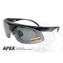 【APEX】運動型太陽眼鏡-偏光鏡.防滑.抗UV護目鏡.近視者可戴.鏡片可拆式 登山 滑雪#976-黑