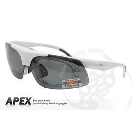【APEX】運動型太陽眼鏡-偏光鏡.防滑.抗UV護目鏡.近視者可戴.鏡片可拆式  登山 滑雪#976-白