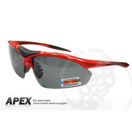 【APEX】運動型太陽眼鏡-偏光鏡.防滑.抗UV護目鏡.軟式鼻墊 登山 滑雪#805-橘紅