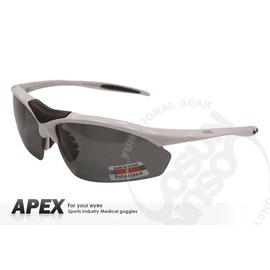 【APEX】運動型太陽眼鏡-偏光鏡.防滑.抗UV護目鏡.軟式鼻墊 登山 滑雪#805-冰炫白