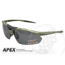 【APEX】運動型太陽眼鏡-偏光鏡.防滑.抗UV護目鏡.軟式鼻墊 登山 滑雪#805-橄欖綠