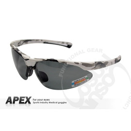 【APEX】運動型太陽眼鏡-偏光鏡.防滑.抗UV護目鏡.軟式鼻墊 登山 滑雪#724-迷彩白