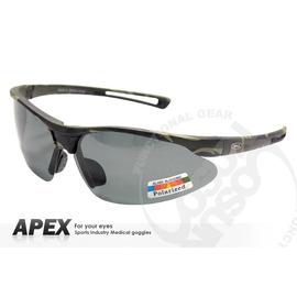 【APEX】運動型太陽眼鏡-偏光鏡.防滑.抗UV護目鏡.軟式鼻墊 登山 滑雪#724-迷彩綠