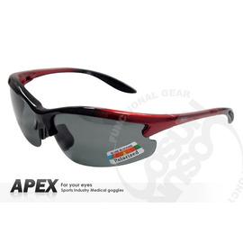 【APEX】運動型太陽眼鏡-偏光鏡.防滑.抗UV護目鏡.軟質高鼻墊.登山 滑雪#610-紅/黑