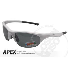 【APEX】運動型太陽眼鏡-偏光鏡.防滑.抗UV護目鏡.軟質高鼻墊.登山 滑雪#917-白
