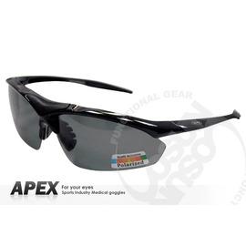 【APEX】運動型太陽眼鏡-偏光鏡.防滑.抗UV護目鏡.軟式鼻墊 登山 滑雪#805-黑