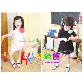 【HH婦幼館】韓版可愛花朵純色短袖洋裝裙(粉色/深藍)90-140cn