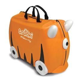 ☆淘氣生活☆美國Trunki可乘坐趣緻兒童行李箱登機箱 橘老虎 美國製附鑰匙