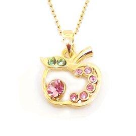 粉紅水鑽蘋果金色項鍊