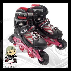【義大利 Value Plus VP】飛力 最新款兒童直排輪套餐組 CNC鋁合金底伸縮溜冰鞋+工具配件+背包/發光輪/多段成長可調底座 ST-05R (紅)