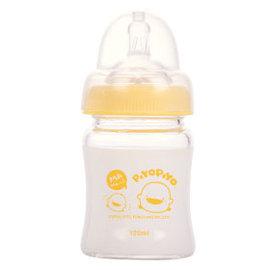 黃色小鴨寬口葫蘆玻璃奶瓶120ml