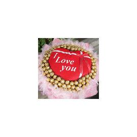 ~愛你百分百~心型愛意抱枕 100朵金莎巧克力花束