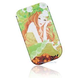 【限量促銷】APPLE/HTC/SAMSUNG/NOKIA/SONY/LG/MOTOROLA/TWM/ZTE/HUAWEI 通用型3.5吋手機-高級彩繪絨布圖案拉取式保護套--花樣少女