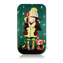【限量促銷】APPLE/HTC/SAMSUNG/NOKIA/SONY/LG/MOTOROLA/TWM/ZTE/HUAWEI 通用型3.5吋手機-高級彩繪絨布圖案拉取式保護套--回憶童年
