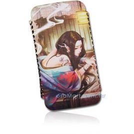 【限量促銷】APPLE/HTC/SAMSUNG/NOKIA/SONY/LG/MOTOROLA/TWM/ZTE/HUAWEI 通用型3.5吋手機-高級彩繪絨布圖案推拉式保護套--古典美人