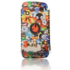 【限量促銷】APPLE/HTC/SAMSUNG/NOKIA/SONY/LG/MOTOROLA/TWM/ZTE/HUAWEI 通用型3.5吋手機-高級彩繪絨布圖案推拉式保護套--花漾少女