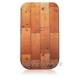 【限量促銷】APPLE/HTC/SAMSUNG/NOKIA/SONY/LG/MOTOROLA/TWM/ZTE/HUAWEI 通用型3.5吋手機-高級彩繪絨布圖案拉取式保護套--木紋蘋果